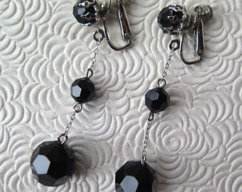 Vendome Black Drop Earrings Mid Century Mod Go Go Dangle Earrings Marked Black Faceted Silvertone Adjustable Leverback Christmas New Year's