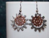 Gear Earrings, Steampunk Jewelry, Gear Jewelry, Steampunk Earrings, Gifts for Her, Free Shipping