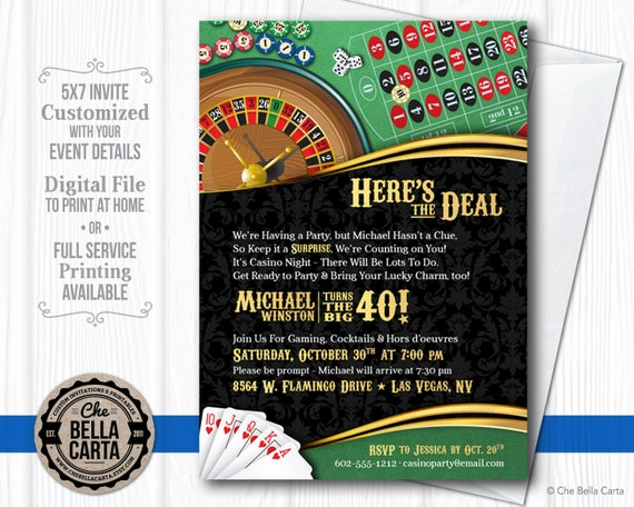 Casino Theme Invitation For Birthday Party Casino Game Night