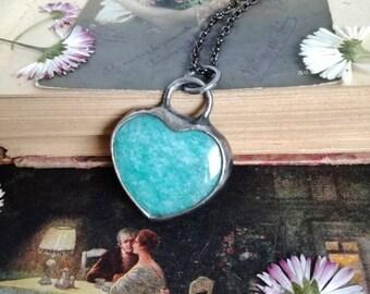 Amazonite necklace , Amazonite Jewelry, Heart Pendant, Statement Necklace, boho, unisex, dainty necklace, splendid stone, One of a kind