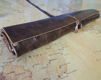 Handmade Leather Knife roll / chef roll / chef bag / tool roll 8