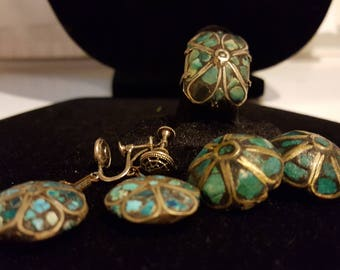 Vintage Turquoise Inlaid Mosaic, Two Pair of Earrings and Ring