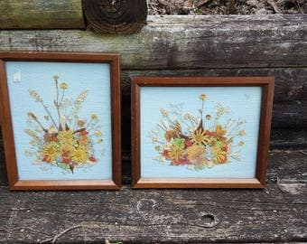 Pair of Framed Dried Flower Arrangements, Vintage, Nancy Reid Inman