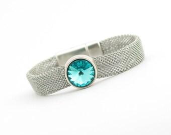 Blue Zircon Birthstone Bracelet, Modern Geometric Bracelet, Minimalist Jewelry, December Birthstone, Birthday gift for her, Stainless Steel