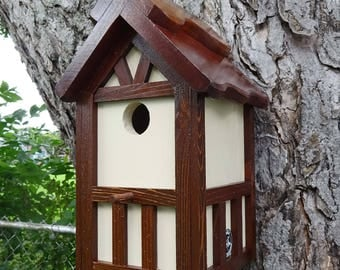 Painted Bird house/Nesting Box, American Tudor style 2B, thatch roof design, EZ cleanout, western red cedar, Made in USA, fully functional
