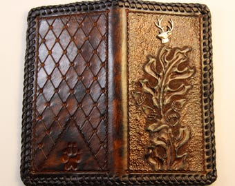 Handmade Roper Wallet with Hand Tooled Oak Leaf Pattern and Deer Head Concho