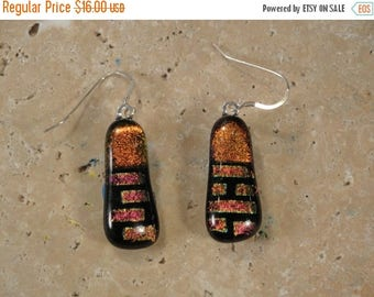 Christmas in July Sale Dichroic Multi-Colored Fused Glass Earrings - BHS02057