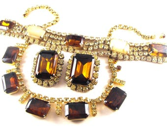 Rhinestone Jewelry Bracelet Earrings Necklace Married Set Topaz Taupe Peridot Colors Vintage