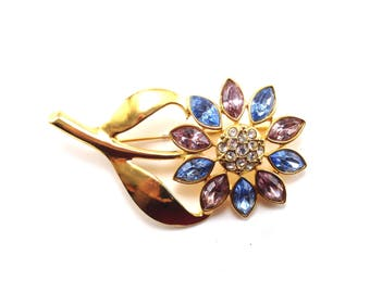 Rhinestone Flower Brooch Pastel Colors Pink Blue Gold Big Happy Bloom Rhodium Plated Gold Tone Pin