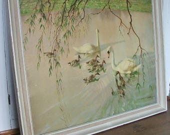 Lovely Vintage Vernon Ward Swan Picture 'The Age of Innocence'