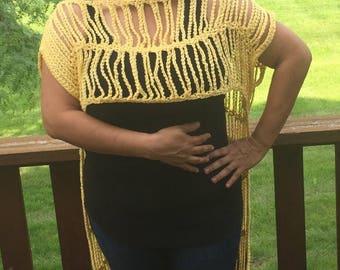 Yellow Mellow Crochet Overlay Top
