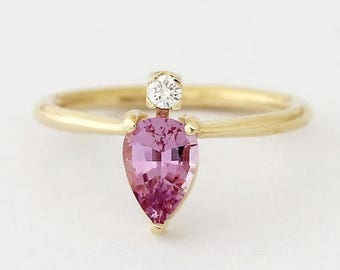 ON SALE Pink Sapphire Ring, Gold Sapphire Ring, Pear Sapphire Engagement Ring, Sapphire & Diamond Ring, Diamond Sapphire Ring, Pink Engageme