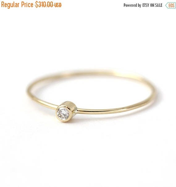 ON SALE Simple Engagement Ring - Baby Diamond Ring - 14k Solid Gold