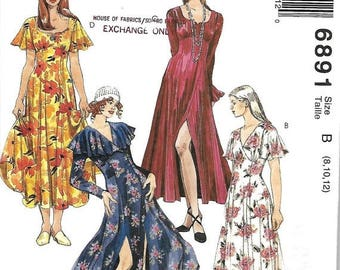 ON SALE McCall's 6891 Misses Empire Waist Dress Pattern, Flared Skirt, Size 8-12, UNCUT
