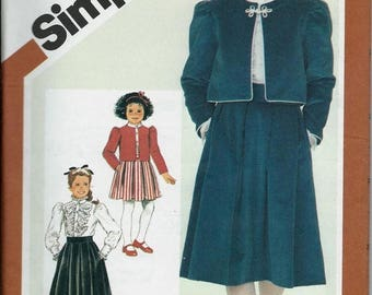 ON SALE Simplicity 6225 Girls Skirt, Blouse and Lined Jacket Pattern, Size 7 & 14 UNCUT