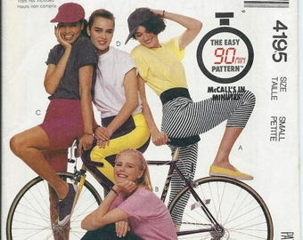 ON SALE Misses Bike Shorts, Leggings Pants 90 Minute Pattern, McCall's 4195 Size X-S & Small Uncut