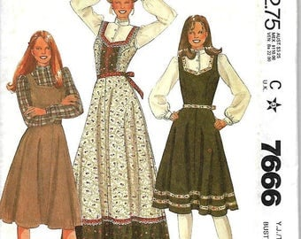 ON SALE McCall's 7666 Junio/Teen Jumper And Blouse Pattern, 7/8 & 11/12, UNCUT