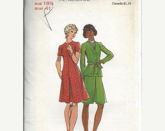 ON SALE Butterick 3278 VTG Dress with Inverted Center Pleat and Jacket Pattern, Size 18 1/2 Uncut
