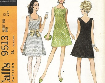 McCall's 9513 Misses A-line Dress With Three Necklines Sewing Pattern, Size 10, UNCUT