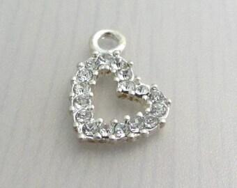 Clear Crystal Rhinestone Heart Charm, 13mm x 20mm Hollow Heart Rhinestone Pendant Charm, Jewelry Craft Supply, Bead Destash