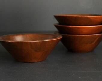 Vintage Staved American Walnut Wood Salad Bowl Set Of 4 Heirloom Walnut Ware, Solid Mid Century Snack Bowl Set