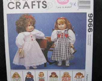 18 inch doll clothes pattern, McCalls 9066, coat and hat, bathrobe and slippers, nightgown, dresses for school, party, holiday, 1997