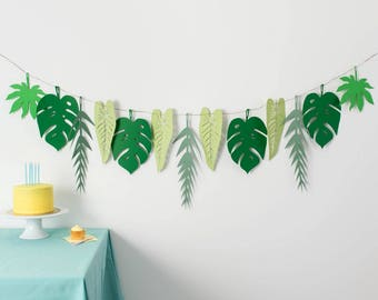 Tropical Garland - Greenery Garland - Tropical Party Idea - Jungle Baby Shower - Luau First Birthday - Monstera Leaves - Tropical Hen Party