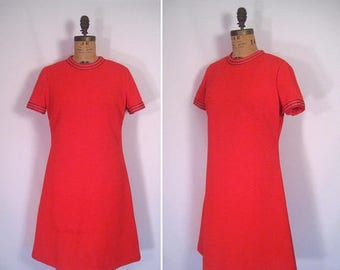 20% off sale : 1960s scarlet red shift dress • 60s mod nautical scooter dress • vintage blast off dress