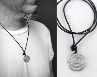 Mens Sterling Silver Spiral Necklace - Large Koru Spiral -  Hammer Formed - Hammered Texture - Adjustable Leather Cord