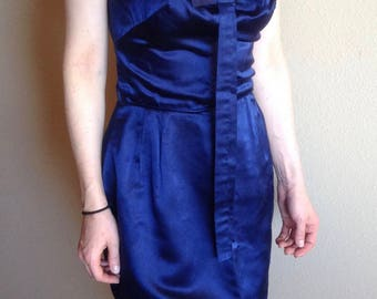 1960's Satin Blue Dress, Asian Flare, Lapis Blue, Body Con, Wiggle Dress