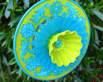 vintage glass garden art plate flower, glass art, re-purposed, upcycled, recycled, yard art, outdoor decor, sun-catcher, garden art, whimsy