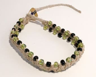 Handmade Hemp Bracelet with Lime Green and Black Beads