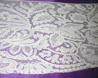 "No. 100 Antique French Silk Alencon Edging Lace; 3 Yards and 12"" x 5"";  pristine"