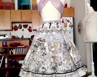 Repro Mexican Aztec novelty sequin full skirt small