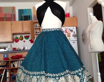 Teal boho embroidered mexican full circle skirt medium