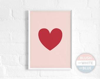 Red Heart A3 Art Print, Big Heart Print, Poster, Love Art, Nursery Decor, Kids Room, Heart Wall Art, Modern, Minimal, Valentine's Day Gift