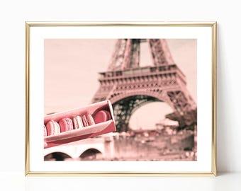Wall art canvas art, Paris wall art, Paris photography, blush pink decor, Paris prints, macarons, Eiffel tower print, macaron, macaroon