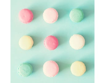 Extra large wall art, macaroons, macaron, wall art canvas, framed wall art, macarons, print, canvas art, macaroon, pop art, turquoise, color