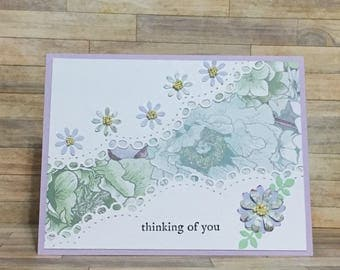 Handmade card, greeting card, thinking of you card, card, occasion card, flower design, purple