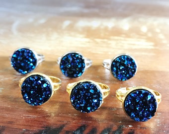 Midnight blue Druzy ring / galaxy ring / crystal boho ring
