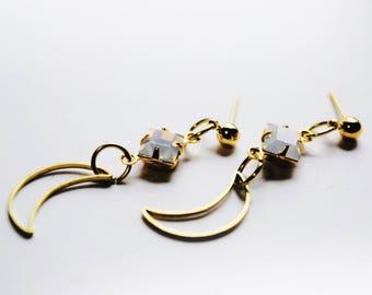 Opalite crescent moon earrings  / opal earrings / moonstone earrings / 18k gold plated earrings