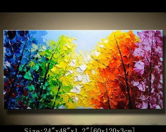 contemporary wall art, Modern Landscape Painting,textured impasto palette knife painting, Home Decor,Textured Painting on Canvas by Chen 711