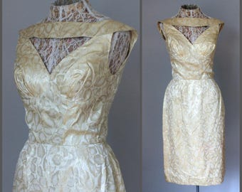 1960s Party Dress Wedding Reception Dress Wiggle Dress Lou-Ette Cocktail Dress Brocade Gold Lame White Cream Metallic Dress XS Low Back Sexy