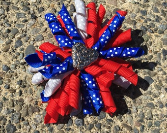 Hair Bow Clip - Red, Gray and Blue Polka Dot Ribbon Korker / Corker Hair Clip with Heart-Shaped Charm