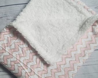 Flannel Blanket with Sherpa wool Carseat Blanket Crib Blanket Baby Blanket