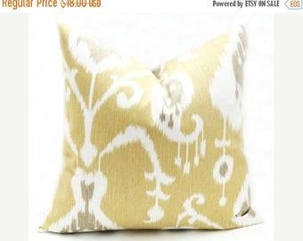15% Off Sale Decorative Pillows, Ikat Pillow, Yellow Pillow, Gold Pillow - Pillow Covers - Throw Pillow covers - 20x20 Pillow cover - Ikat -