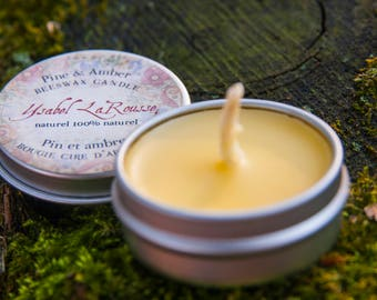 Beeswax, Pine & Amber Candles Trio - Mini Beeswax Tealights