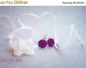 SALE Purple Rose Earrings HandMade, Purple Roses, Purple Flowers, Purple Flowers, Flower Earrings, Floral Earring