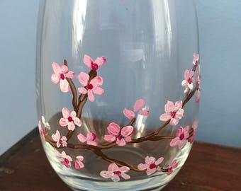 Hand Painted Wine Glass/ Cherry Blossom