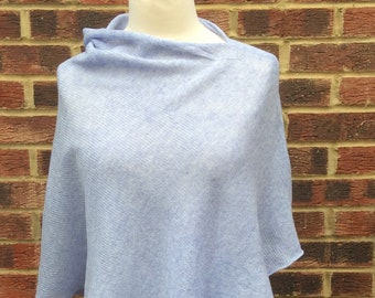 Cornflower Blue Spring Knit Poncho. Soft and warm Cape. Aquamarine Knit Wrap .Spring Holidays Cover up. Mothers Day Gift .Trendy Colour